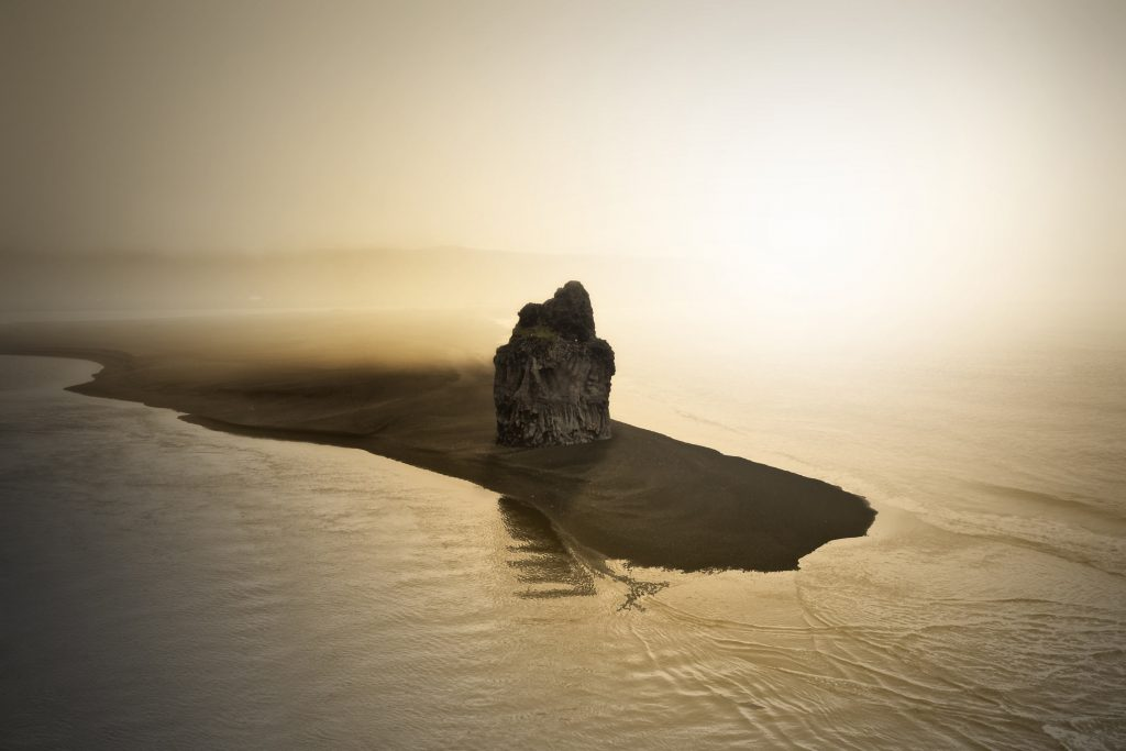 A rock on the beach of Vik, Iceland